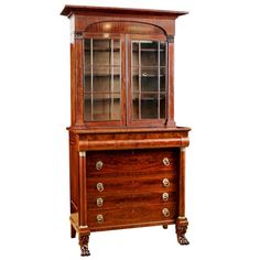 Antique American Empire Drawer-Front Secretary in Mahogany Attributable to John Meads, c. 1825