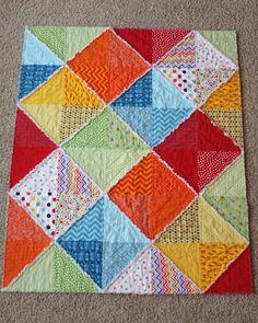 Colorful Large Diamonds Rag Flannel Crib Quilt