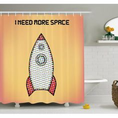 "Ambesonne Quote with Radiant Tone Futuristic Spaceship Rocket Moon Cosmos Humor Artwork Shower Curtain Set Size: 70"" H x 69"" W x 1"" D"