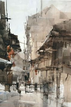 Chein, Chung Wei - The next town of the town sketching #watercolor, #design, #composition, #fineart