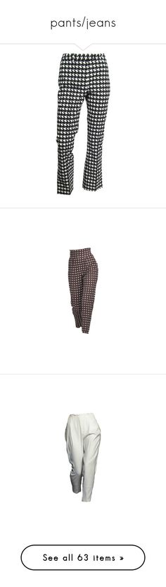 """""""pants/jeans"""" by saintlaurxnt ❤ liked on Polyvore featuring pants, capris, bottoms, trousers, white, black and white pants, houndstooth pants, white zipper pants, zip pants and john galliano"""