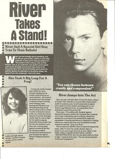 River talking about dissection in an old magazine.