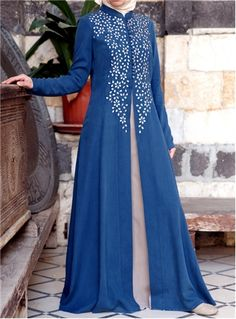 SHUKR+UK+|+Embroidered+Contrast+Gown