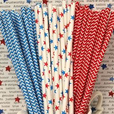 chevron paper straws, red and blue, americana, 4th of july, memorial day, labor day, presidents day, summer, picnics, fireworks