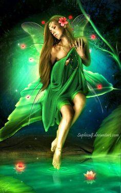 Green water fairy b Fairy Dust, Fairy Land, Fairy Tales, Magical Creatures, Fantasy Creatures, Elfen Fantasy, Fairy Pictures, Love Fairy, Beautiful Fairies