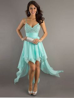 Best A-line Spaghetti Straps Chiffon Aqua High-low Prom Dress