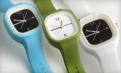 this minimalistic design is fun and they remind me of my beloved swatch watch from the 80's. $36 for (watch), which includes 3 interchangable bands.