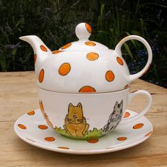 Cats Tea for One Stacking Teapot and Teacup Hand by scattyartist