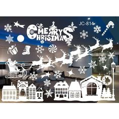 New Year Window Glass PVC Wall Sticker Christmas DIY Snow Town Wall Stickers Home Decal Christmas Decoration for Home Supplies  Price: 3.28 USD
