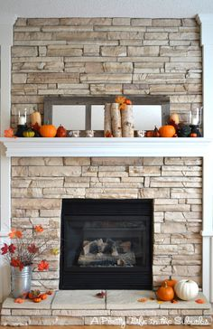 My Fall Inspired Mantel – A Pretty Life In The Suburbs - Wood Burning Fireplace Inserts Fall Fireplace, Fireplace Remodel, Fireplace Redo, Fireplace Stone, Fireplace Ideas, Stone Mantle, Propane Fireplace, Brick Fireplaces, Fireplace Modern