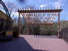Cedar wood pergola over an Azek deck - Columbia PA Vinyl Pergola, Wood Pergola, Pergola Canopy, Deck With Pergola, Chester County, Pergola Lighting, Cedar Wood, White Vinyl, Lancaster