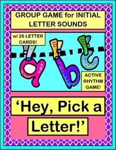 GROUP GAME and funny 3-note SONG for working with LETTER RECOGNITION and INITIAL SOUNDS IN WORDS! Introduce a new letter/sound, or review ones you've already covered. A full set of colorful LETTER CARDS is included for game play. (8 pages) MULTI-SENSORY LEARNING from Joyful Noises Express TpT! $