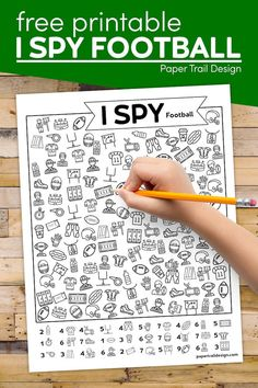 Print this fun I spy football game for little kids to play to keep them busy and entertained and as a bonus this game is educational too.