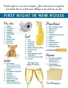 Family's first night in new house checklist. The first night in a new house after a move is stressful. Making an open-first box can help. How to buy a home, buying a home #homeowner