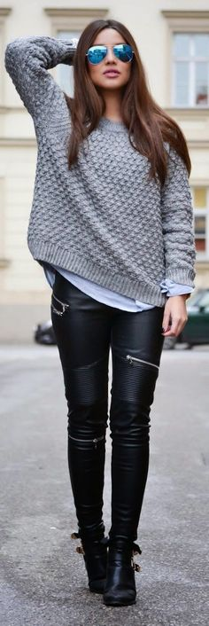Black veggie-leather jeans with ribbed thigh panels and silver teeth zippers below the left knee, angled at the right thigh, and another pair of aluminum zippers angled at the left hip.. Get the supplies to make it: http://mjtrends.com/pins.php?name=zippers-for-veggie-leather