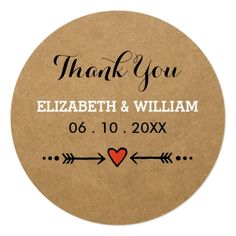 Pink Sweethearts & Arrows Rustic Wedding Thank You Classic Round Sticker. A pink sweethearts and arrows motif illustration against a country-style brown paper background. Wedding Rsvp, Wedding Thank You, Wedding Invitations, Wedding Ideas, Chic Wedding, Wedding Favours, Wedding Bells, Invites, Rustic Save The Dates