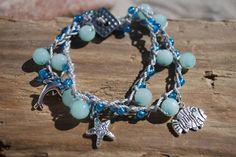 Hæklet armbånd med blå amazonit Charmed, Bracelets, Jewelry, Fashion, Moda, Jewels, Fashion Styles, Schmuck, Jewerly