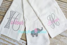 Monogrammed Burp Cloth set in pink and gray by SweetAndStitched