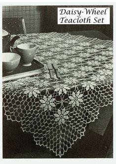 Crochet Daisy, Crochet Lace Edging, Thread Crochet, Filet Crochet, Crochet Shawl, Vintage Crochet, Crochet Flowers, Crochet Tablecloth Pattern, Crochet Bedspread