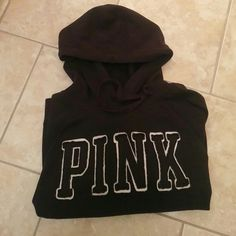 VS Pink Black hoodie Size XS Good used condition has been worn has a bit of fading No stains/rips/holes/pilling  Need any additional pics feel free to ask ;)  Price reflects the bit of fading PINK Victoria's Secret Sweaters