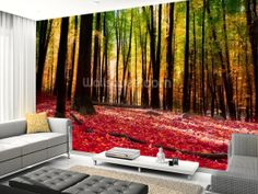 Who doesn't love a good forest scene? And you can add some colour to it with the Autumn style of red leaves. Match your carpet to the colour to create the image of living among the trees. Colourful Autumn Forest | Wall Mural | Wallsauce.com