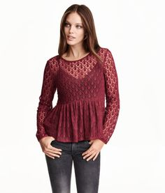 Lace peplum top | Product Detail | H&M