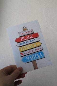 """Carte postale """"direction plage"""" version couleur : Cartes par le-petit-bazar-des-trinomettes-en-delire"""