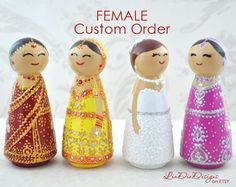 Custom Female Cake Topper  Kokeshi Peg Dolls  by LiaDiaDesigns