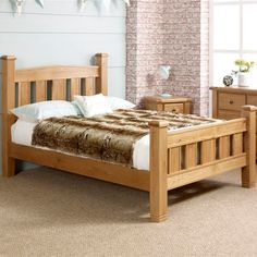 Buy Happy Beds Woodstock Oak Wooden Bed Pocket Sprung Mattress from our Small Doubles range - Tesco Simple Bed Designs, Beds Uk, Ottoman Storage Bed, Oak Beds, Bedroom False Ceiling Design, Muebles Living, Wooden Bed Frames, Diy Bed Frame, Bed Styling