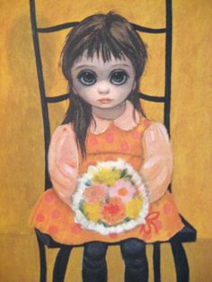 Margaret Keane -- It was this type of art work that inspired the Love Me Linda/Pretty as a picture doll. My mom hated the pictures though -- she thought the children all looked like they were starving.