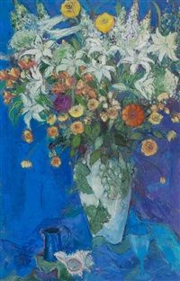 Ann Oram RSW (British, born Lilies for Pip 103 x 67 cm. x 26 in. Rugs On Carpet, Flower Art, Oil On Canvas, Original Artwork, Vibrant Colors, Auction, British, Lily, Symbols