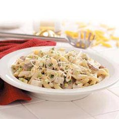 Creamy Chicken and Pasta Recipe -Rich, creamy and laced with wine, this chicken-and-pasta main dish is a favorite with Elaine Moser's family in Spokane, Washington. Who'd guess it's so quick and easy? COOKING CAPERS. Capers are the small, green flower buds of a bush that grows all over the Mediterranean area. Pickled in wine, vinegar or brine, capers lend a salty, lemony flavor to sauces, salads, veggies and main dishes. They can be found on grocery store shelves with olives and pickles.