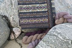 Detail of the Rona design by Alice Starmore on shingle on the West coast of Lewis.