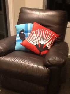 Pohutukawa flower cushion & retro turquoise blanket cushion with Tui bird made by me.