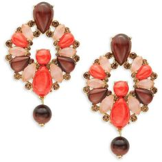 Kate Spade New York Burst into Bloom Statement Earrings ($44) ❤ liked on Polyvore featuring jewelry, earrings, orange, chunk jewelry, multicolor earrings, chunky jewelry, colorful earrings and multi color jewelry