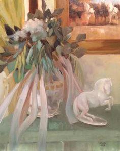 """Bohemian Still-Life - Oil on canvas, 16"""" x 20"""" by artist Elaine Juska Joseph"""