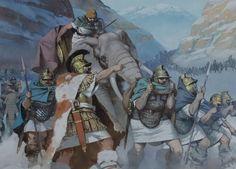 Aníbal e seus homens cruzando os Alpes (Por Angus McBride)