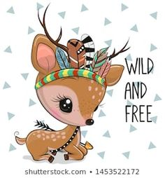 Cartoon Fawn with feathers on a white background. Cartoon woodland baby Fawn with feathers on a white background vector illustration Clipart Baby, Illustration Mignonne, Cute Illustration, Cute Animal Drawings, Cute Drawings, Baby Cartoon, Cute Cartoon, Cartoon Mignon, Baby Animals