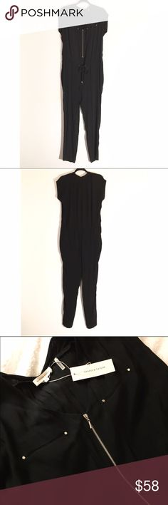🆕 Rebecca Taylor Black Zip Up Drawstring Jumpsuit Brand new with tags! Sold out! This Rebecca Taylor jumpsuit is so edgy and fun! V neckline; zip front. Cap sleeves. Mesh trim at front with stud detail. Drawstring waist with metal hardware at end of strings. Slit pockets at hips. Straight legs. Rayon; trim: silk; lining: polyester. Dry clean. Rebecca Taylor Pants Jumpsuits & Rompers