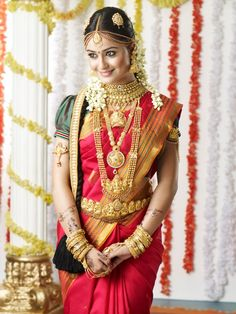 #Traditional #Southern #Indian #Bride wearing #bridal #saree, #jewellery and #hairstyle. #IndianBridalMakeup