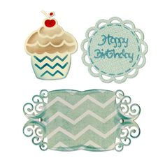 Mix3Arts Faca-Embossing Sizzix Thinlits Birthday Cupcake & Labels- Corta, Auto-Relevo e Stencil