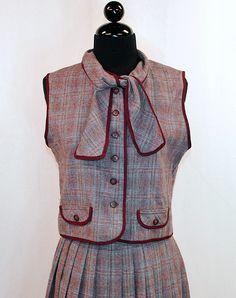 Vintage 70's Plaid Wool Dress Suit vest skirt  bow ascot 1970's. $34.00, via Etsy.