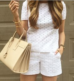 Chic fashion style Short Outfits, Summer Outfits, Casual Outfits, Eyelet Top, Eyelet Shorts, Look Fashion, Fashion Outfits, Fashion Design, Fashion Trends