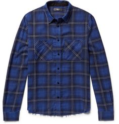 AMIRI AMIRI - DISTRESSED CHECKED COTTON AND CASHMERE-BLEND FLANNEL SHIRT -  BLUE. #