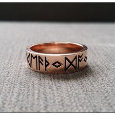 Rustic Mens Wedding Band Ring Nordic Runes Till Death Do We Part Old... ($1,199) ❤ liked on Polyvore featuring men's fashion, men's jewelry, men's rings, mens hammered wedding rings, rose gold mens wedding rings, mens 14k gold rings, engraved mens wedding rings and mens rings