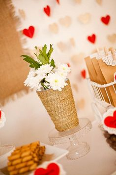 Wrap jute twine around a vase! Cute idea via www.KarasPartyIdeas.com. A site full of party ideas!