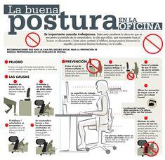 Trabajar con una #postura y una #ergonomía correcta es vital para evitar dolor de espalda, de cuello, de manos, muñecas... Aquí van algunos consejos para poner en práctica con esta #infografía.