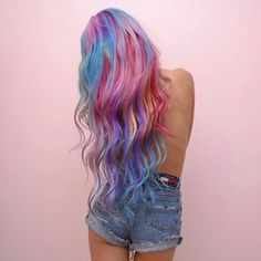 Beautiful long chalk rainbow hairstyle by hieucow