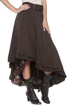 Womens Plus Belt Steampunk Victorian Inspired Ruffle Asymmetric Petticoat Skirt