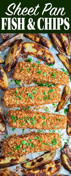 Used Cod. Sheet-pan fish and chips! This is a healthier, oven-baked version of restaurant fish and chips. Use any white fish. Ready in an hour. Fish Recipes, Seafood Recipes, Dinner Recipes, Cooking Recipes, Healthy Recipes, Cooking Fish, Dinner Ideas, Prawn Recipes, Cooking Pork